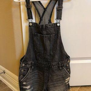 Black distressed denim A&F overalls - shorts